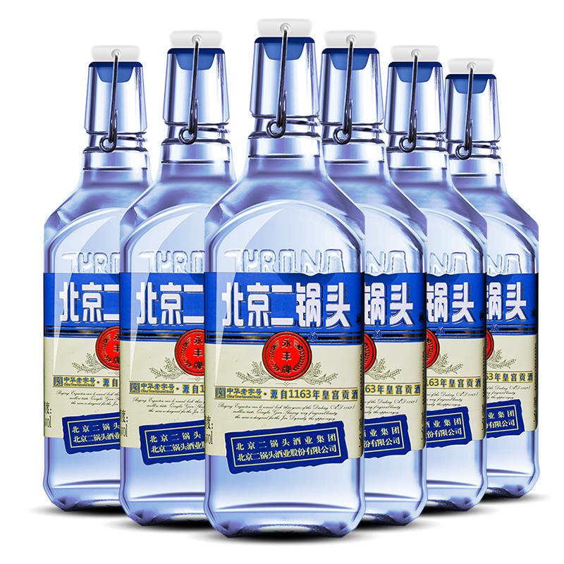 永丰 清香型北京二锅头(出口型小方瓶)蓝瓶42度(整箱装)500ml